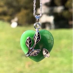 Sterling Entwined Jade Heart Pendant Necklace